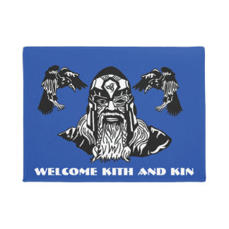 Welcome Kith and Kin Odin and Ravens Doormat
