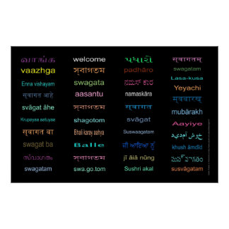 WELCOME Languages of INDIA 5 sizes Black Print