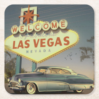 Welcome Las Vegas Square Paper Coaster
