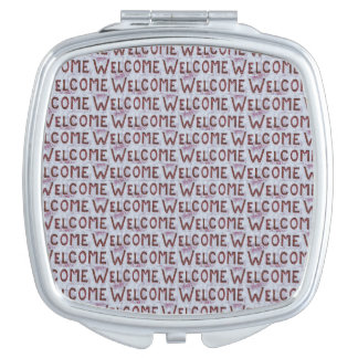 Welcome Letters Pattern Makeup Mirror
