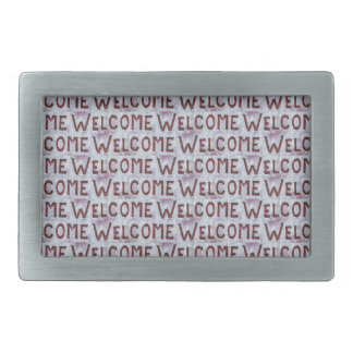 Welcome Letters Pattern Rectangular Belt Buckle