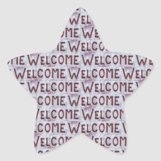 Welcome Letters Pattern Star Sticker
