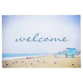 """Welcome"" Light Blue Sky & Golden Sand Beach Photo Doormat"