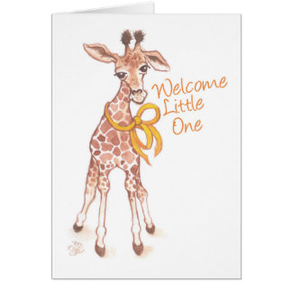 Welcome Little One Cute Giraffe Baby Shower Card