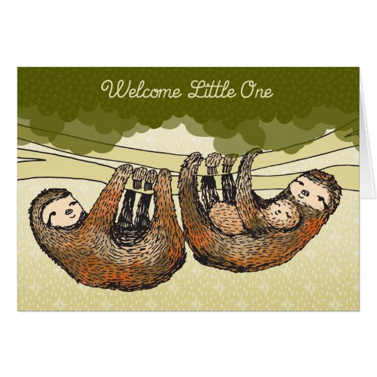 Welcome Little One - Sloths with Baby - New Baby Card