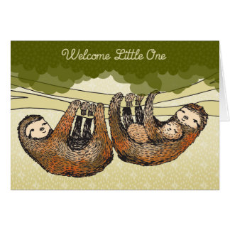 Welcome Little One - Sloths with Baby - New Baby Greeting Card