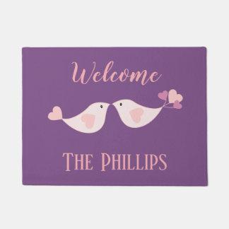 Welcome Love Birds on Purple Doormat