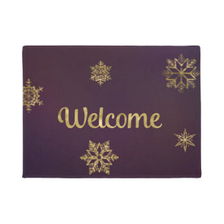 Welcome Mat Gold Snowflakes