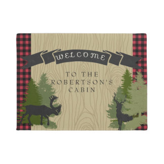 Welcome Mat Personalized Name Mountain Cabin Deer