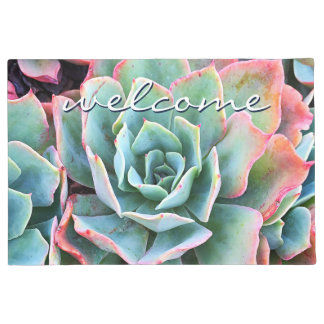 """Welcome"" Mint Green & Pink Cactus Close-up Photo Doormat"