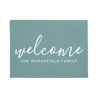 Welcome - Modern calligraphy with Family Name Doormat