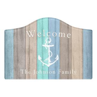 Welcome - Nautical Summer Beach Wood Anchor Door Sign
