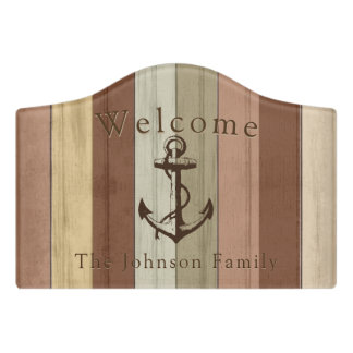 Welcome - Nautical Weathered Wood Anchor Door Sign