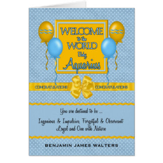 Welcome New Baby Boy Aquarius Congratulations Card