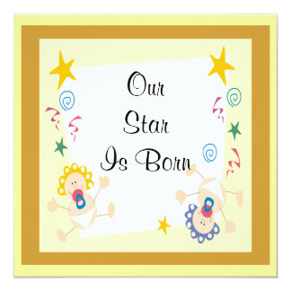 Welcome New Baby Boy or Girl Set 13 Cm X 13 Cm Square Invitation Card
