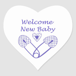Welcome New Baby Heart Stickers