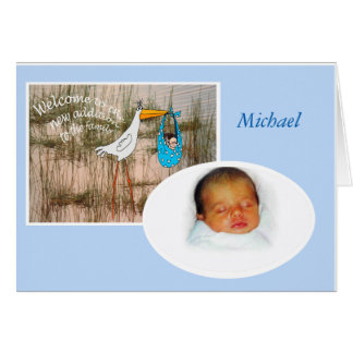 Welcome new baby, Stork, custom card