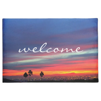 """Welcome"" Orange Blue and Red Clouds Sunrise Photo Doormat"