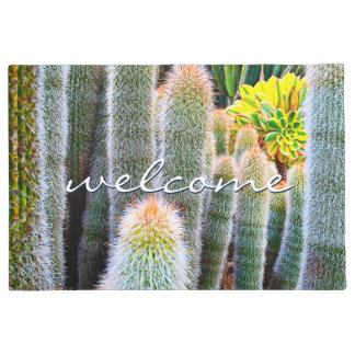 """Welcome"" Orange Green Fuzzy Cacti Close-up Photo Doormat"