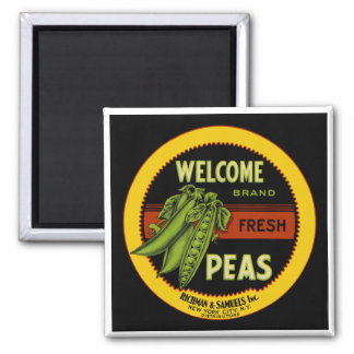 Welcome Peas Label New York Square Magnet
