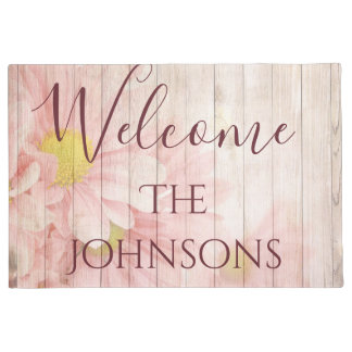 Welcome Personalise Pink Chic Flowers Doormat