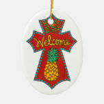 Welcome Pineapple Cross Christmas Ornaments