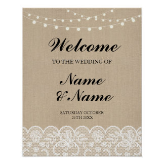 Welcome Poster Sign Wedding Lace Burlap Poster
