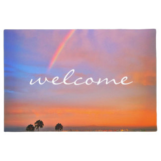 """Welcome"" Rainbow Orange Pink & Blue Sunrise Photo Doormat"