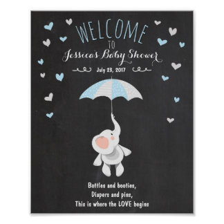 Welcome Sign baby shower elephant Blue Boy Shower