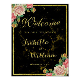 Welcome Sign | Black gold marble rose wedding