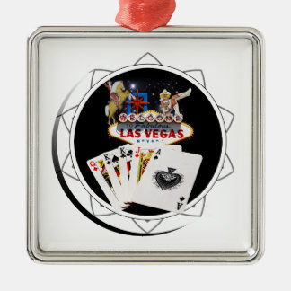 Welcome Sign Black Poker Chip Metal Ornament