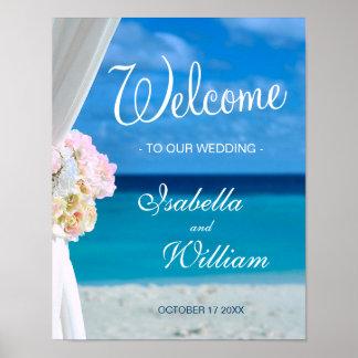 Welcome Sign   Blue Ocean Beach Summer Wedding