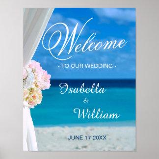 Welcome Sign   Floral Ocean Beach Summer Wedding