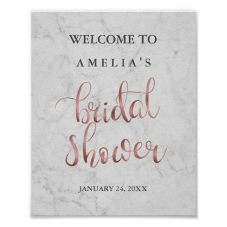 Welcome Sign Marble Faux Rose Gold Bridal Shower Poster