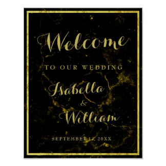 Welcome Sign | Modern  black gold marble Wedding