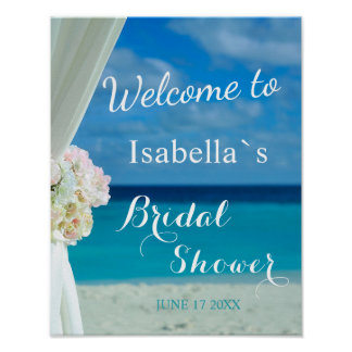 Welcome Sign | Ocean Beach Summer Bridal Shower Poster