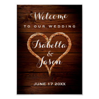 Welcome Sign | Rustic Metal Heart Wood Wedding Poster