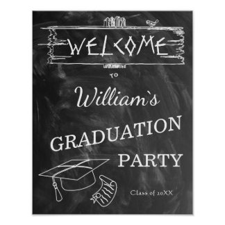 Welcome Sign | Simple Rustic BlackWhite Graduation