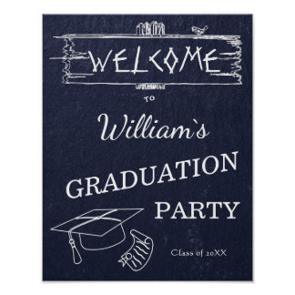 Welcome Sign | Simple Rustic Blue Stone Graduation
