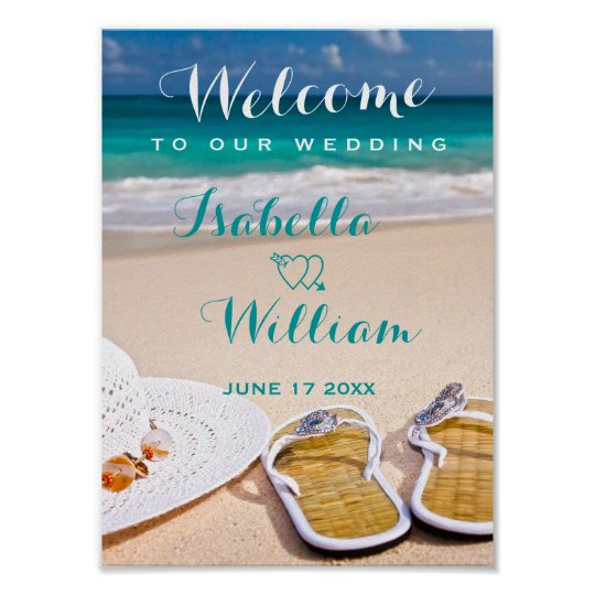 Welcome Sign TurquoiseOcean Beach Summer Wedding