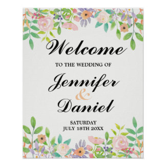 Welcome Sign Wedding Watercolour Floral Reception