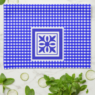 Welcome Spring Bright Blue Gingham Pattern Ornate Tea Towel