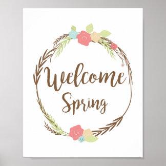 Welcome Spring Floral Wreath  Design Art Print