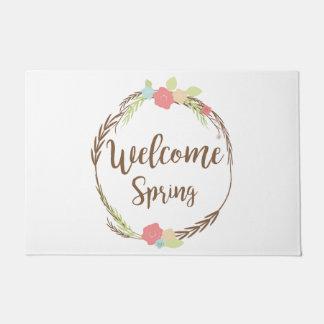 Welcome Spring Floral Wreath  Design Door mat