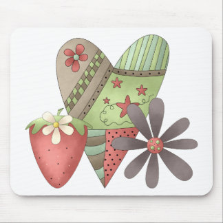 Welcome Spring · Heart, Strawberry & Flower Mouse Pad