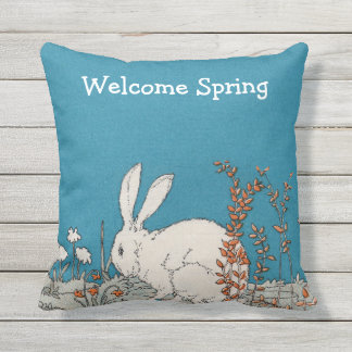 Welcome Spring Pretty White Rabbit in Flowers Throw Pillow