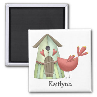 Welcome Spring · Red Bird & Birdhouse Magnet
