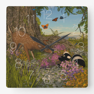 Welcome Spring Square Wall Clock