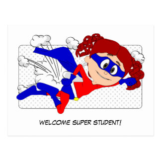 Welcome Super Student Girl Postcard Back to School