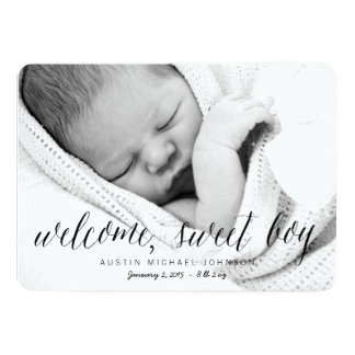 Welcome Sweet Boy - Photo Birth Announcement